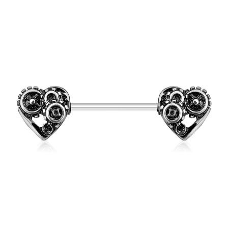 Nipple Piercing Barbell Heart Steampunk Wear Your Heart Everywhere