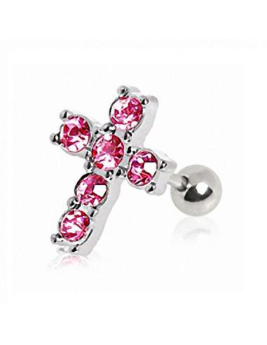 Piercing Oreille Hélix Croix rose