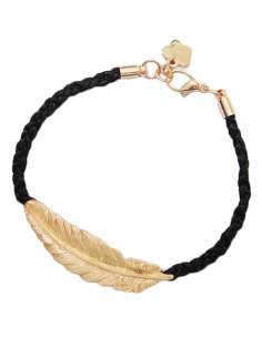 Bracelet with gold feather