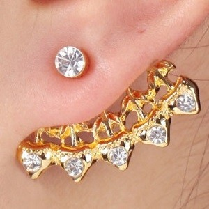 Gold Plated Ear Studs Flower Design Claw Sold By Piece Gold Plate