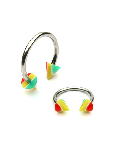 Circular Barbell with Striped Spikes...