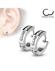 Hoop earrings Lined Crystals Front Oval Shape