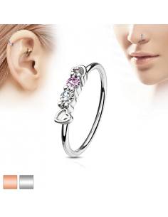 Piercing ring CZ Set hearts...