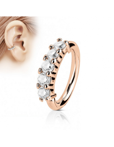 Piercing Ring With 5 Lined CZ