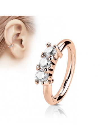 Piercing Ring with 3 Lined CZ