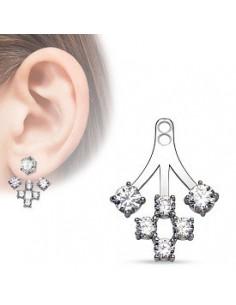 Add On Earring 5 CZ Prong Set Fan