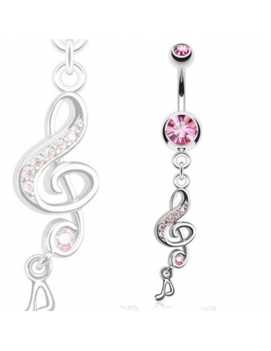 Belly Button Navel Ring Treble Clef with Gems and Music Note Hit th...