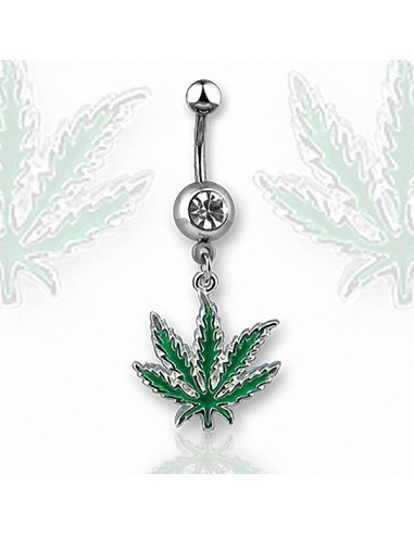Belly Button Navel Ring Green Pot Leaf