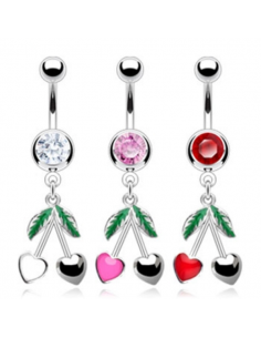 Navel with Heart Cherry Dangle