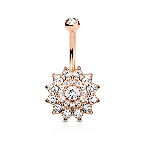 Brilliant Flower Dazzle Belly Button Ring