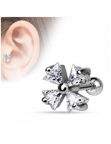Helix piercing kristallen klavertje
