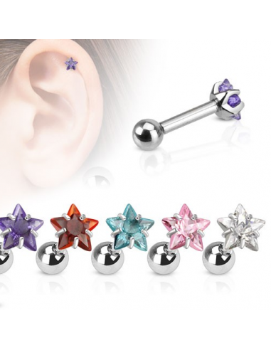 Cartilage Barbell Helix Tragus CZ...