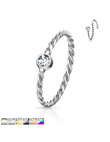 Bendable Hoop Piercing Ring Twisted Rope