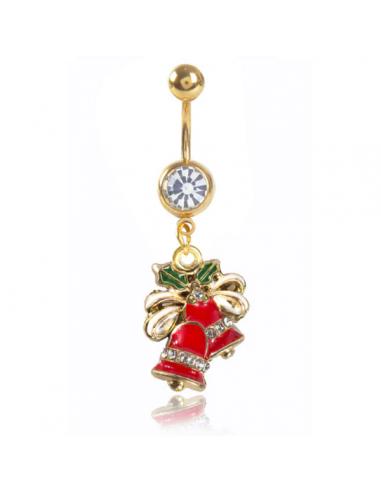 Piercing nombril cloche de Noël rouge