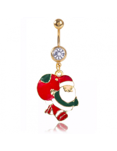 Navel Ring Gold Plated with Santa Claus
