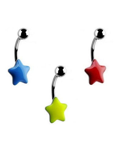 Navel Ring with Enamal Star