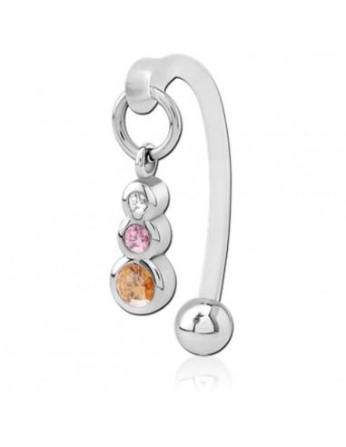 Intimate piercing bioflex with 3 gem